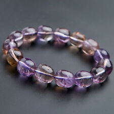 Genuine Natural Ametrine Purple Yellow Crystal Oval Beads Bracelet AAA 15x13mm