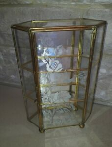 Vintage Small Gold Glass Display Case Etched Small 22cms Tall