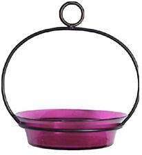 New listing Couronne Co. Cuban HangIng Birdbath Bird Feeder 9� Glass w/ Metal Holder Fuchsia