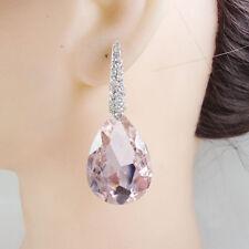 Pretty Pink Droplets Austrian Crystal Bride Dangle Earrings Silver Tone
