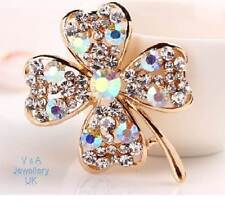 LUCKY Gold Crystal Wedding Bridal Bouquet 4 Leaf Clover ST PATRICKS DAY Brooch