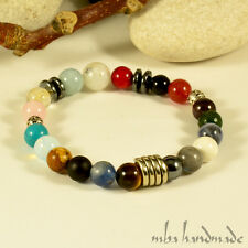 WOMEN'S GENUINE 17 DIFFERENT MIXED STONE BEADED BRACELET NATURAL GEMSTONE BRASS