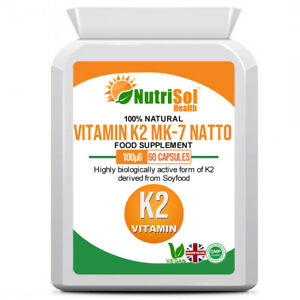 NutriSol Health Vitamin K2 MK-7 100mcg 60 Capsules Vegan Food Supplement