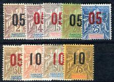 DAHOMEY 1912 Yvert 33-40,42 * gute AUFDRUCKWERTE 25€(F3601