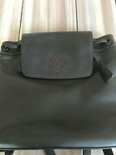 CHANEL CC Logos Backpack Bag Purse Dark Brown Leather 5872003