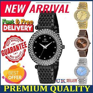 Ladies Womens Wrist Watches Bracelet Designer Rhinestone Crystal Casual Watch UK