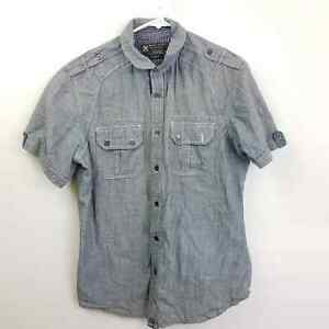 Marc Ecko Cut & Sew Gray Chambray Short Sleeve Button Front Shirt Size S