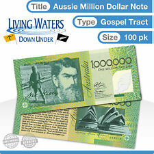 100 x Australian $1 Million Dollar Note Gospel Tract - Novelty Currency Money