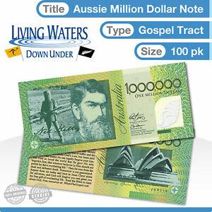 100 x Australian $1 Million Dollar Note Gospel Tract - Novelty Currency Money