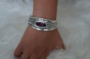 "NEW Uno De 50 Elements Crystal MOMBASA Silver Cuff Statement Bracelet 6.5-7.5"""