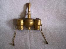 ANTIQUE VINTAGE BENJAMIN DOUBLE CLUSTER BRASS LAMP LIGHT SOCKET WITH FINIAL