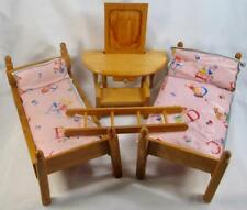 Strombecker Vintage Childs Wooden Doll Bunk Bed Set & Kohner Vanity & Stool (O4)