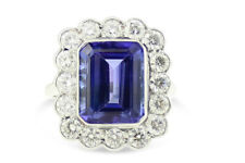 Tanzanite and Diamond Cluster Ring Platinum 1.50ct + 3.45ct