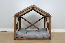 Wood Dog House Indoor Dog Cat Bed Sofa Pet Sleeping Place Washable Tent Pillow