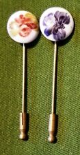 """Nice Pair of 2"""" Brass Ceramic Colorful Floral Hat Lapel Stick Pins"""