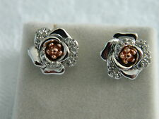 Clogau Silver & Rose Welsh Gold Moonlight Rose Stud Earrings RRP £189.00