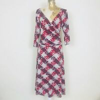 Next Dress 10 Red Faux Wrap Jersey Aline Patterned Stretch Ruched V Neck Career