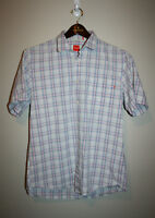 Mens BOSS Blue White Pink Plaid Button Down Front Short Sleeve Shirt Large L