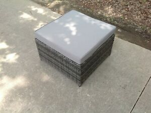 Grey Mixed rattan footstool patio outdoor garden furniture with grey cushion