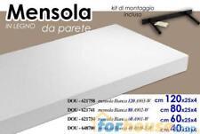 MENSOLA SCAFFALE DA PARETE LEGNO BIANCA PORTAOGGETTI 60x25CM
