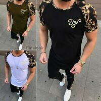Men's Gym Hot Summer Slim Fit Casual Short Sleeve Muscle Tee Tops T-shirt Blouse