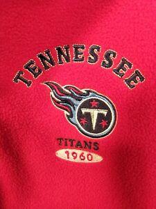 Men's NFL Tennessee Titans Red Fleece 1/4 Zip Pullover Jacket Med.