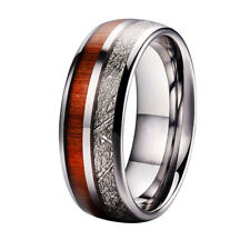 Mens Luxury Tungsten Carbide Koa Wood Meteorite Inlay Ring Wedding Gift Size