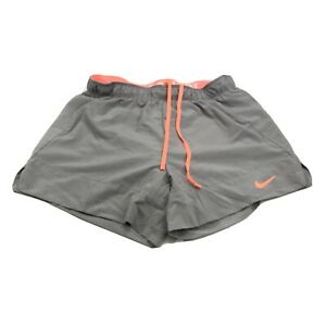 Nike Dri Fit Women's Running Shorts Athletic Lined Gray Salmon Pink Size Small