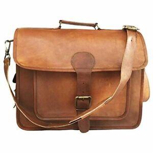"""Men's Genuine Brown Leather Vintage Messenger Shoulder Laptop Briefcase Bag 15"""""""
