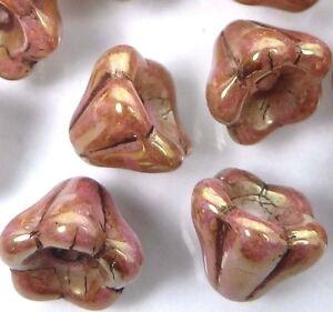 25 Czech Glass Baby Bell Flower Beads - Luster - Opaque Rose/Gold Topaz 8x6mm