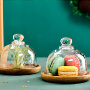 3.15in Mini Dessert Plate Non-Stick Cake Pan Wood+Glass House Cover Fruit Tray