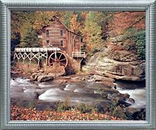 Glade Creek Mill Nature Trees Landscape Wall Decor Picture Silver Framed (20x24)