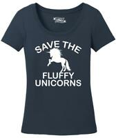 Ladies Save The Fluffy Unicorns Scoop Tee Fat Chubby Horse Shirt