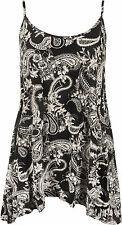 Womens Printed Cami Ladies Summer Swing Mini Dress Long Top Plus Size vest 12-30
