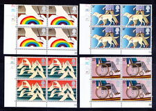 UK 1981 MNH 4v Plate Blk, Guide Dog, Handicaps, Wheel Chair, Painting, Rainbow