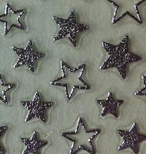 Nail Art 3D Sticker Metal like Silvertone Stars 60 pcs RARE Holiday New Year