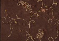 Softline Fabric  Chocolate  Gold Scroll Poly Silk Drapery Upholstery
