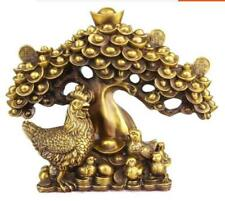 China Fengshui Brass Wealth Yuanbao Money Coin Tree Animal Chicken Chicks Statue