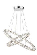 LED Hängelampe Marylin Chromringe Hängelampe Kristall XXL Leuchte 48W