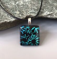 Daisies Dichroic Fused Glass Pendant Handmade w/necklace