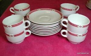 {8 SETS OF} Wedgwood Metallised (Pink Band) CUP & SAUCER SETS  Exc Bone China