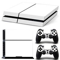 For PS4 Skin 1st Console & 2 Controllers White Finish Vinyl Wrap Decal