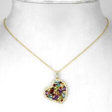 Halskette Herz Granat Blautopas Citrin Peridot Amethyst 925 Silber 585 Gelbgold