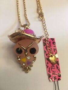 Betsey Johnson Pink Resin Hat Owl Rhinestone Long Chain Sweater Necklace-BJ30103