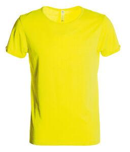 t-shirt uomo manica corta tessuto  jersey vestibilita slim fluo neon fluorescent