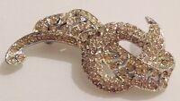 broche vintage couleur argent déco tout incrusté de cristaux diamant brille 416