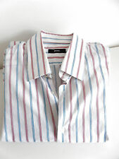 HUGO BOSS Mens Shirt (41/16) White Blue Pink Mix 100% Cotton up to 44 In Chest