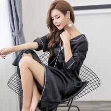Lady Pajamas Nightdress Nightwear Faux Silk Satin Shirt Dress Lingerie Robe