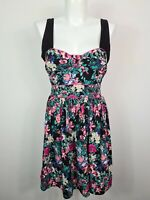 Tree of Life Sun Dress Women's Size M Black Floral 100% Rayon Tie Elastic Back