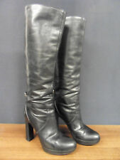 Genuine GUCCI Womans black leather knee-high boots Size 35C - UK 2.5